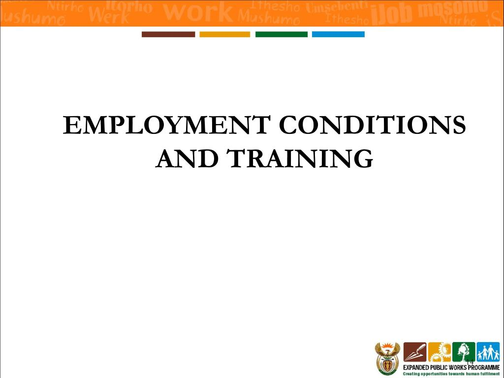 EMPLOYMENT CONDITIONS AND TRAINING