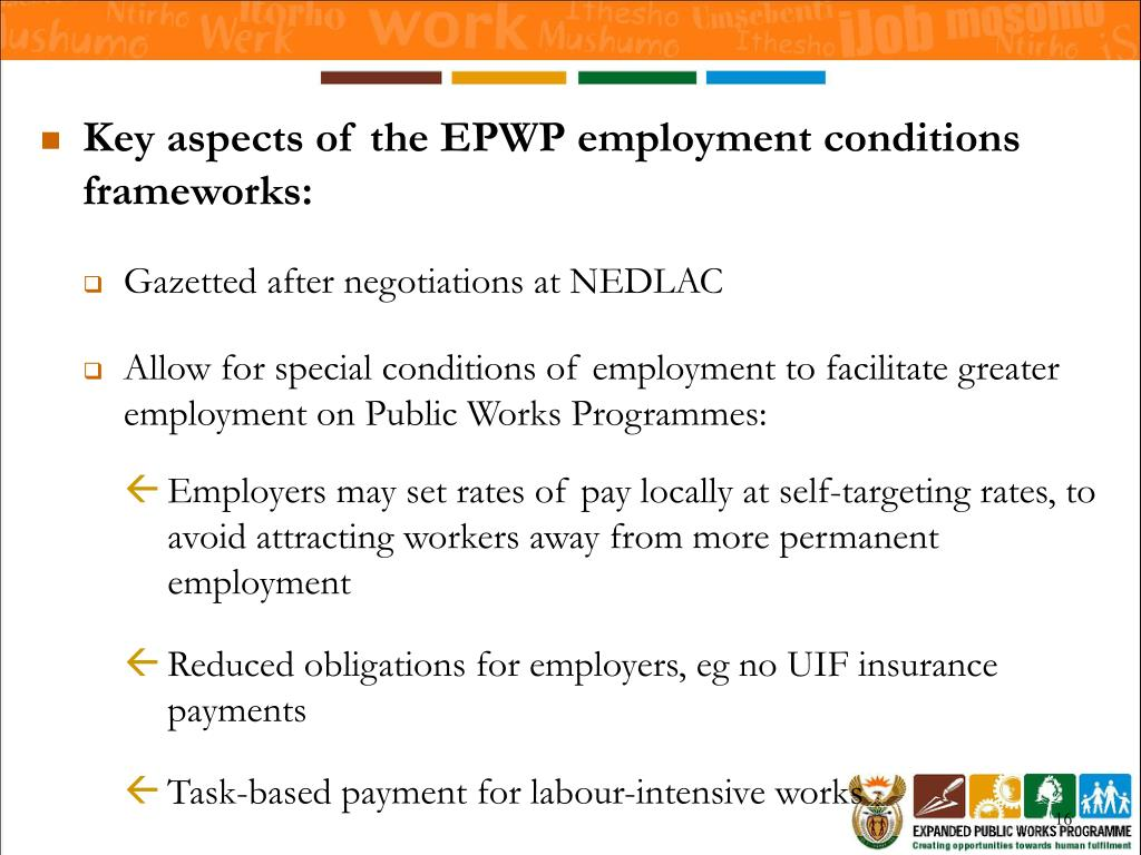Key aspects of the EPWP employment conditions frameworks:
