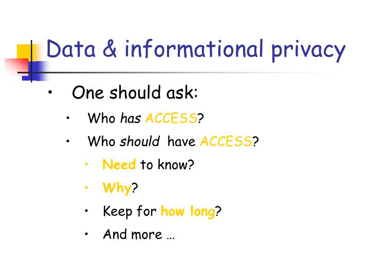 Data informational privacy