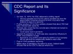 cdc report and its significance