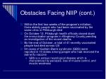 obstacles facing niip cont