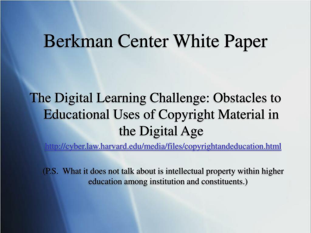 Berkman Center White Paper