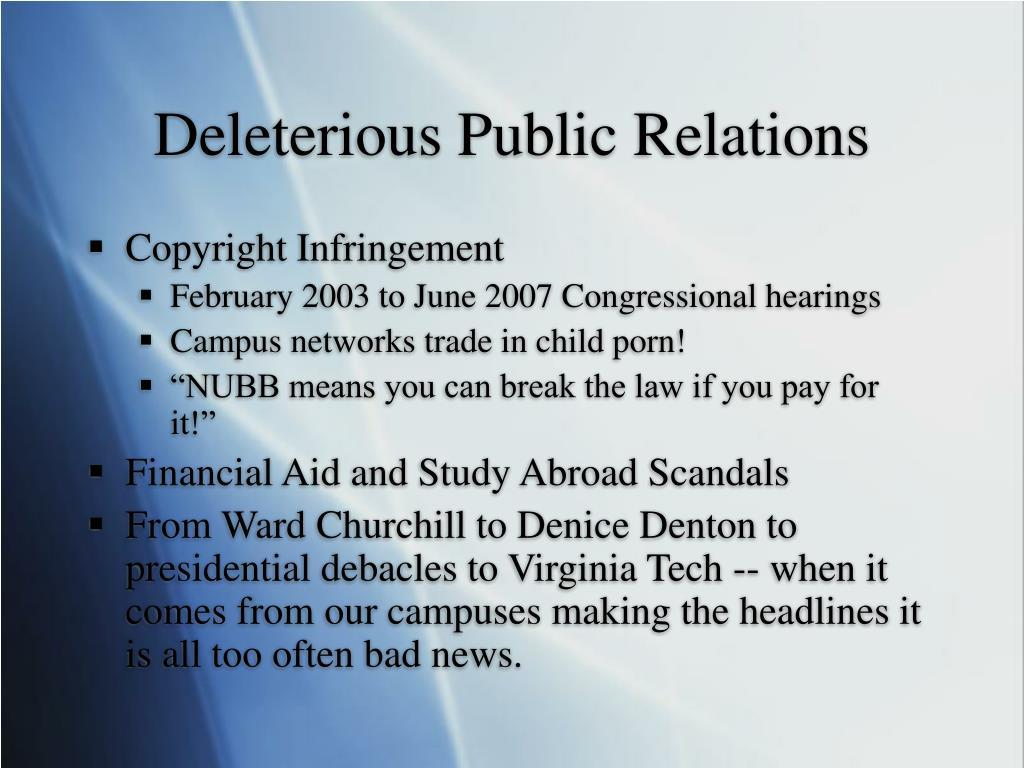 Deleterious Public Relations