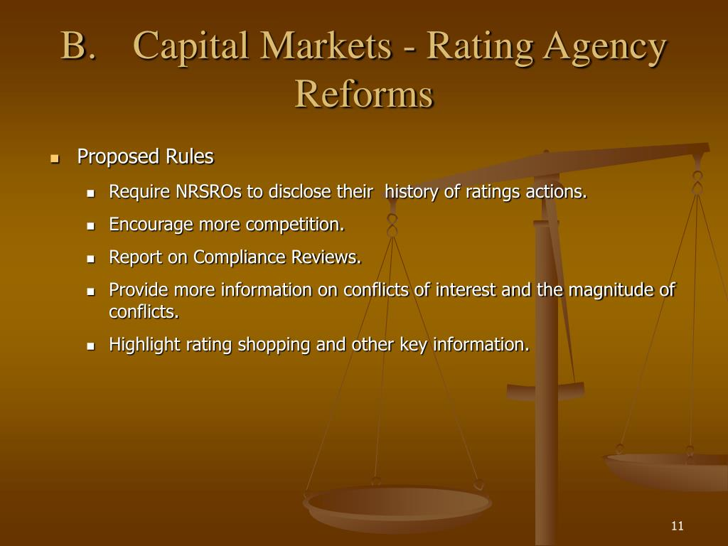 B.Capital Markets - Rating Agency Reforms