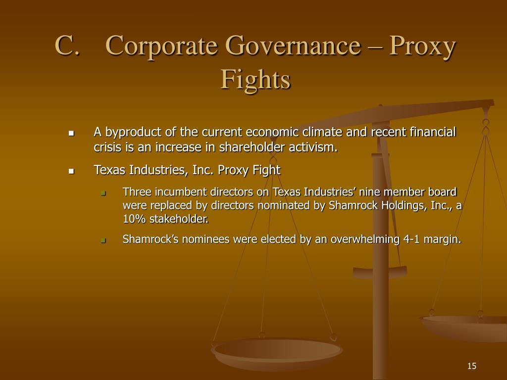 C.Corporate Governance – Proxy Fights