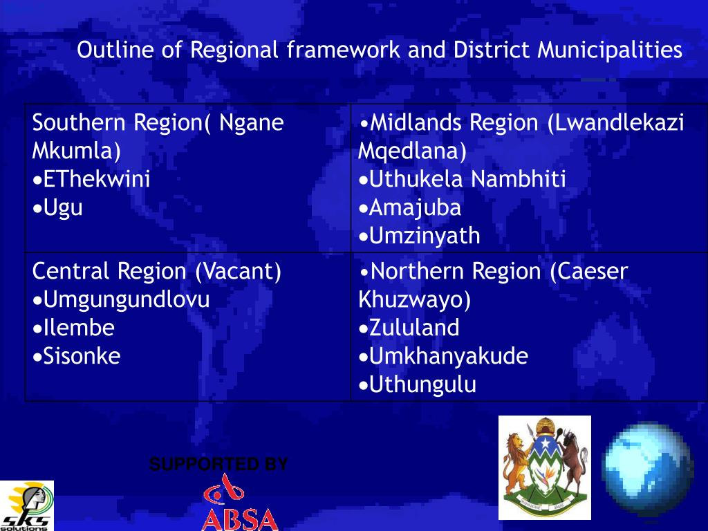 Outline of Regional framework and District Municipalities