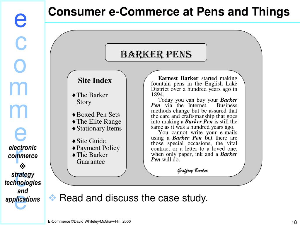 Consumer e-Commerce at Pens and Things