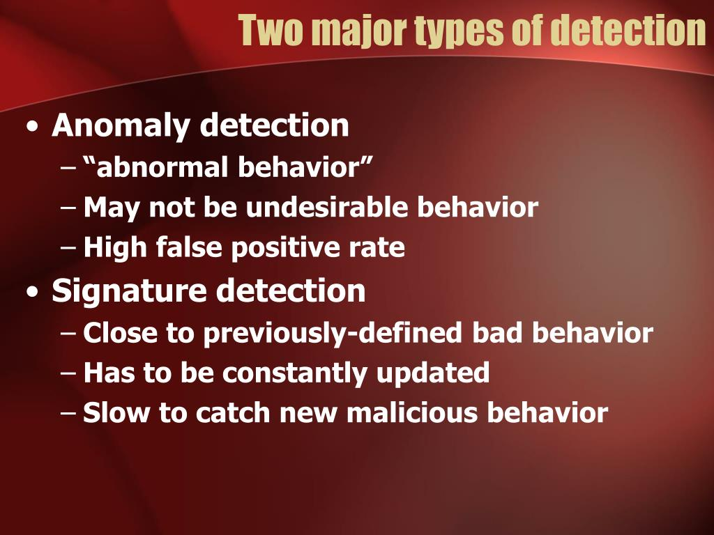 Two major types of detection