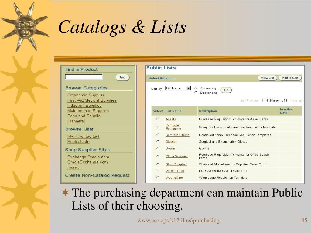 Catalogs & Lists