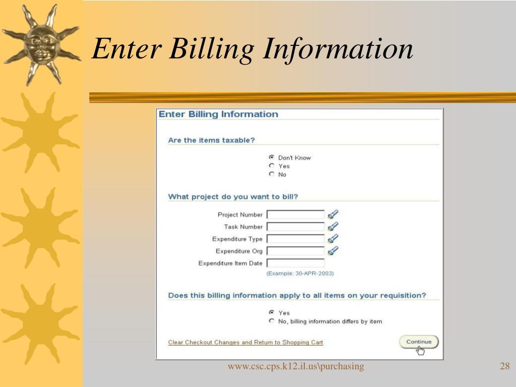Enter Billing Information