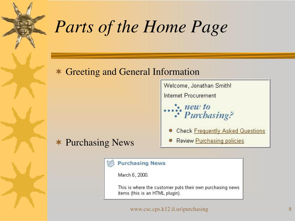 Parts of the Home Page
