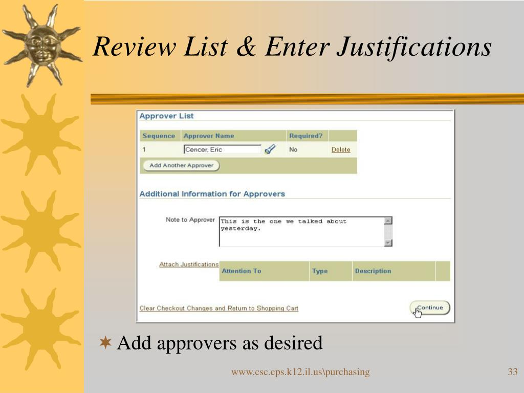 Review List & Enter Justifications