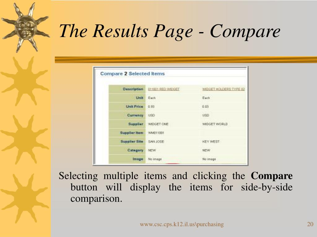 The Results Page - Compare