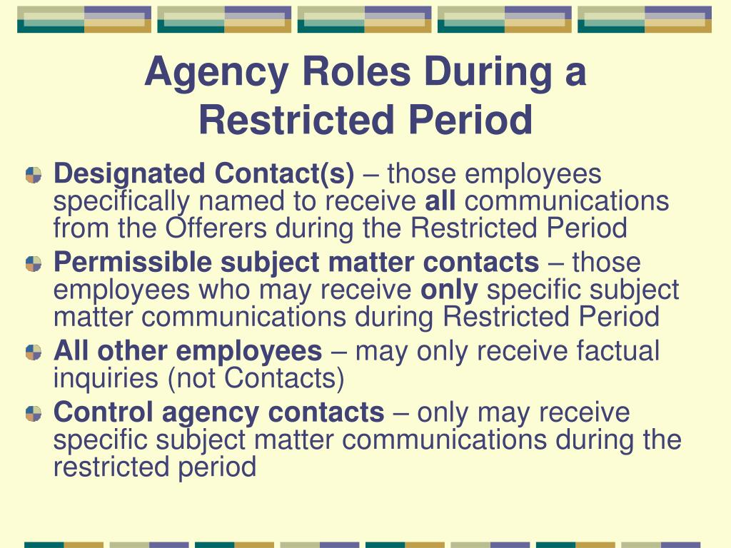 Agency Roles During a