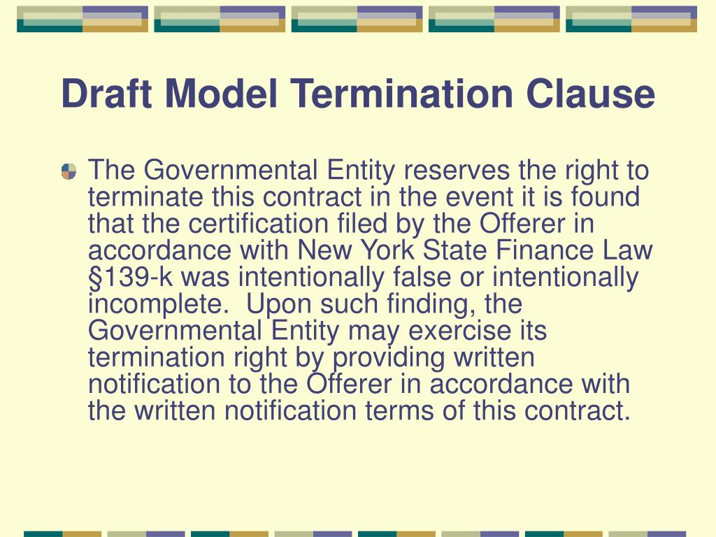 Draft Model Termination Clause