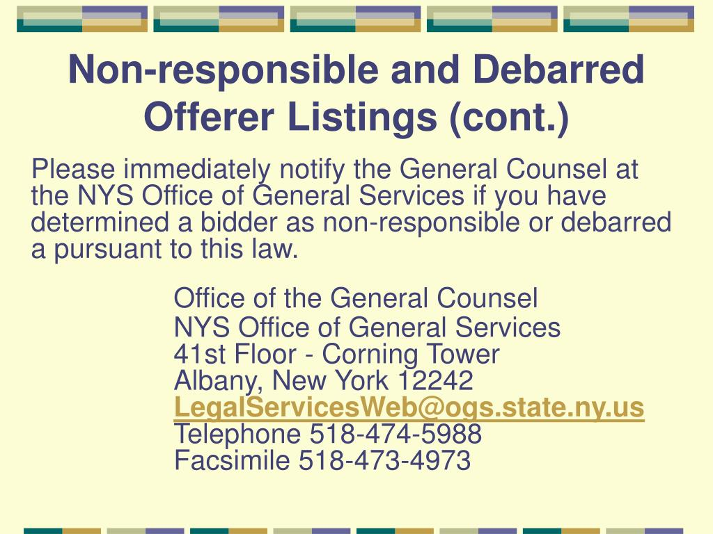 Non-responsible and Debarred Offerer Listings (cont.)
