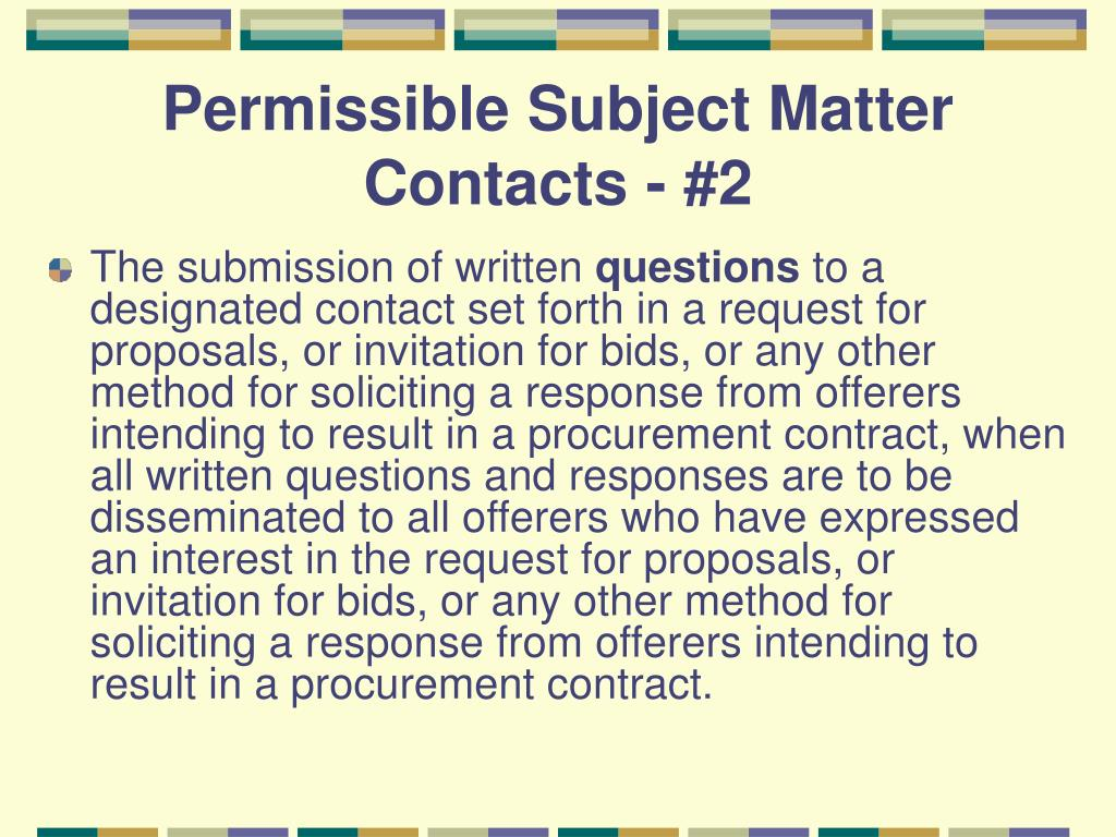 Permissible Subject Matter Contacts - #2