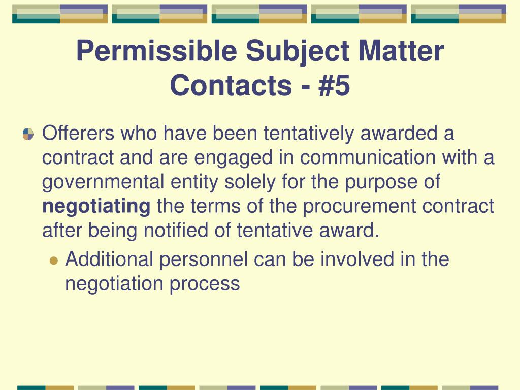 Permissible Subject Matter Contacts - #5