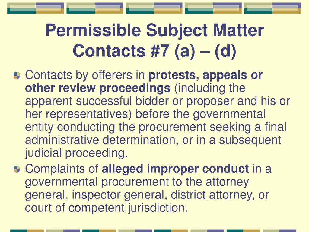 Permissible Subject Matter Contacts #7 (a) – (d)