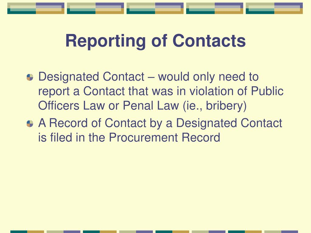 Reporting of Contacts