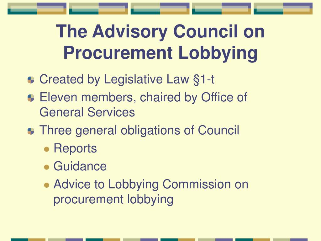 The Advisory Council on Procurement Lobbying