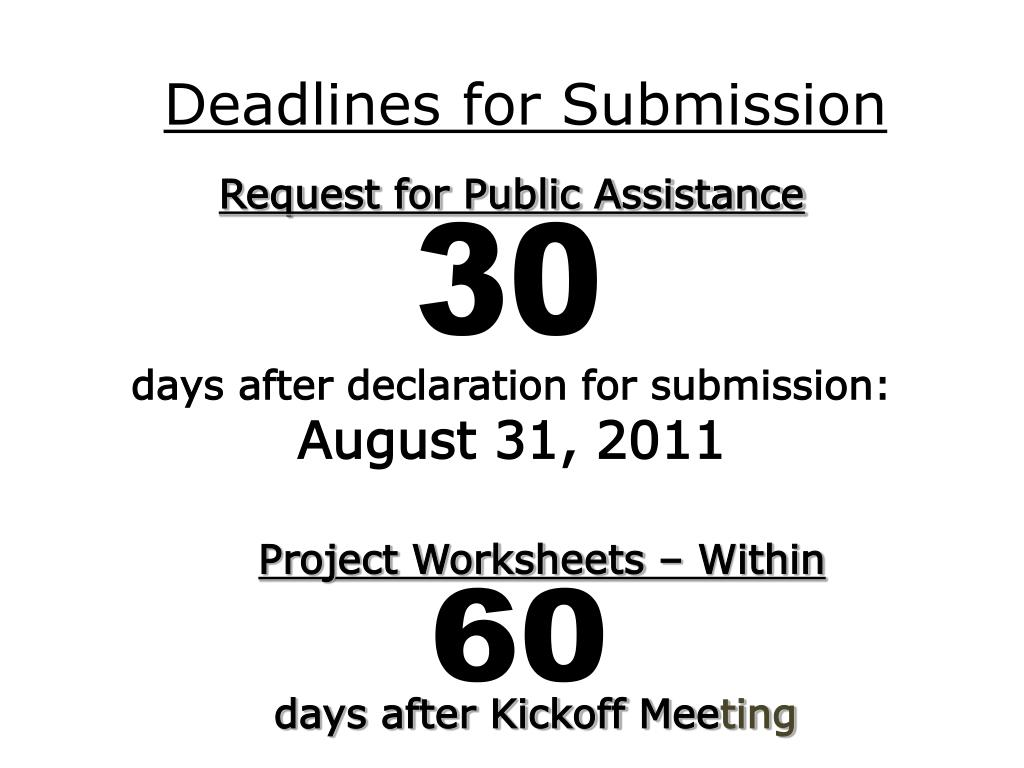 Deadlines for Submission