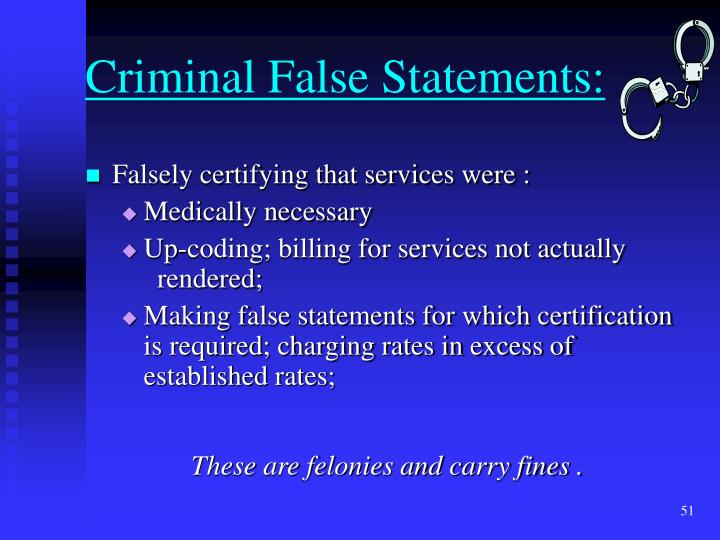 Criminal False Statements: