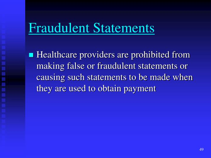 Fraudulent Statements