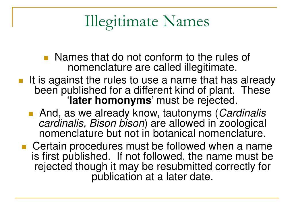 Illegitimate Names
