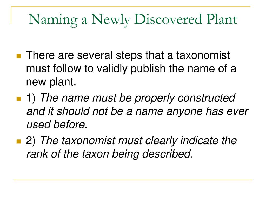 Naming a Newly Discovered Plant
