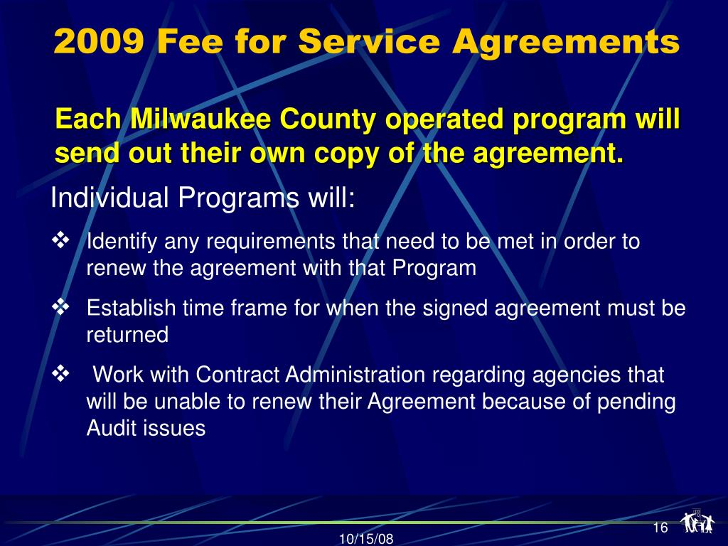 2009 Fee for Service Agreements