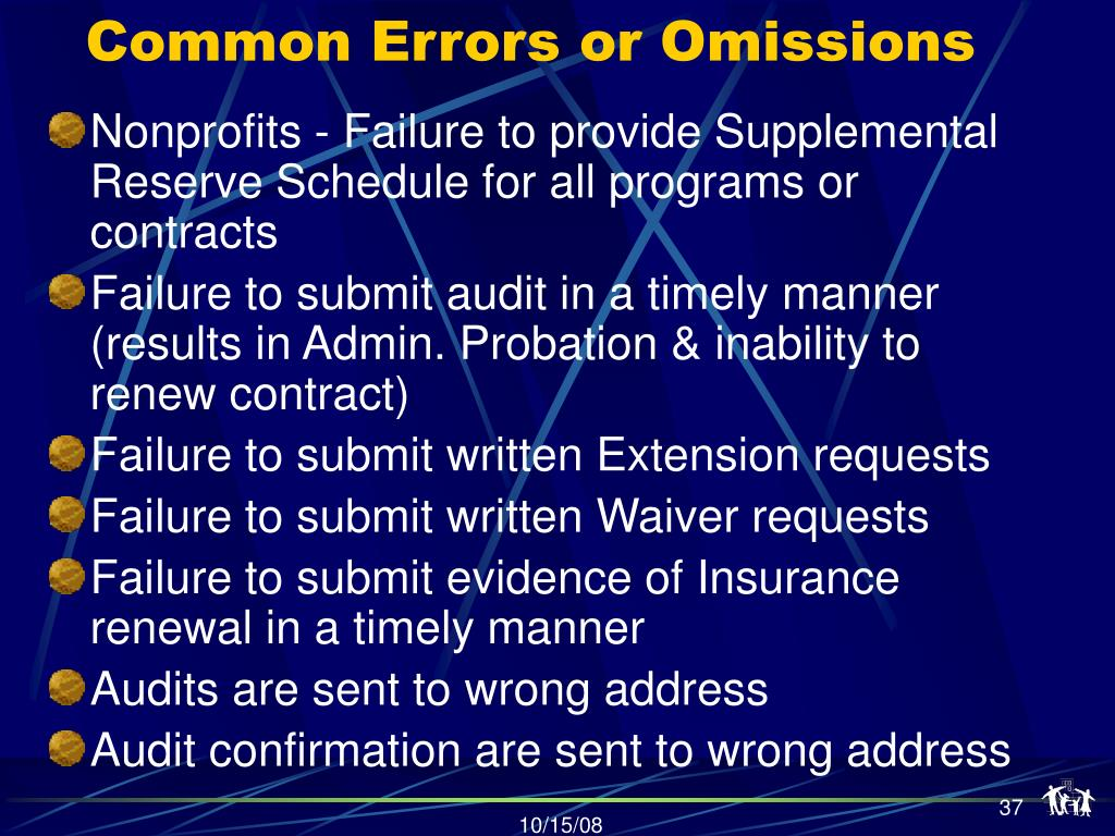 Common Errors or Omissions