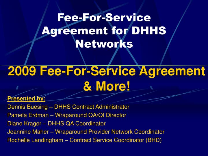 Fee for service agreement for dhhs networks