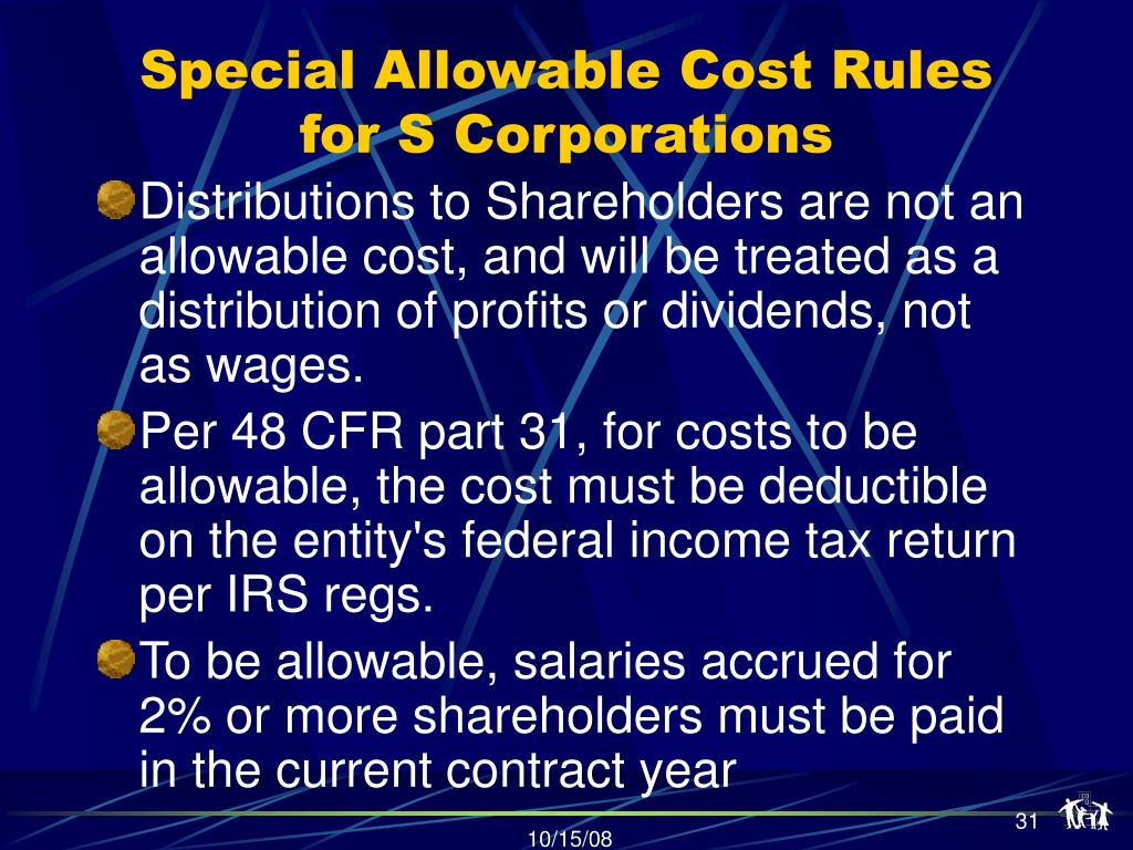Special Allowable Cost Rules for S Corporations