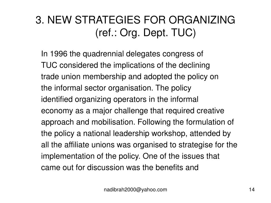 3. NEW STRATEGIES FOR ORGANIZING