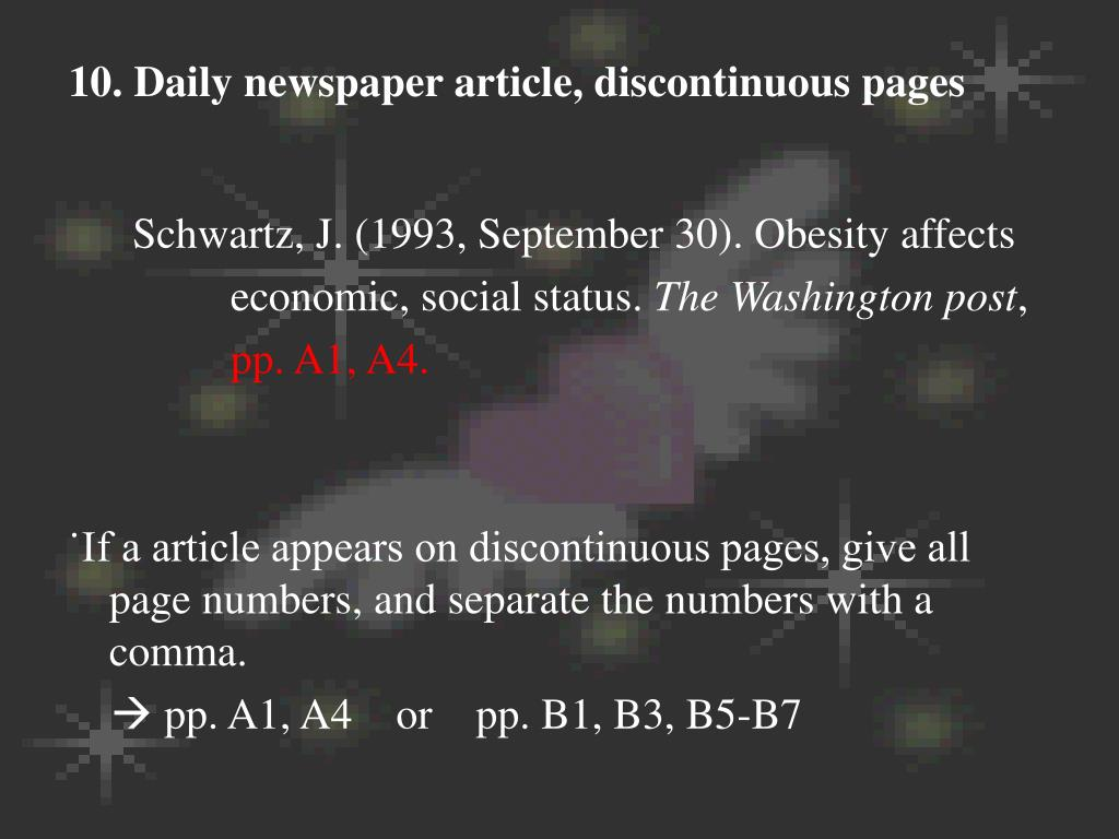 10. Daily newspaper article, discontinuous pages