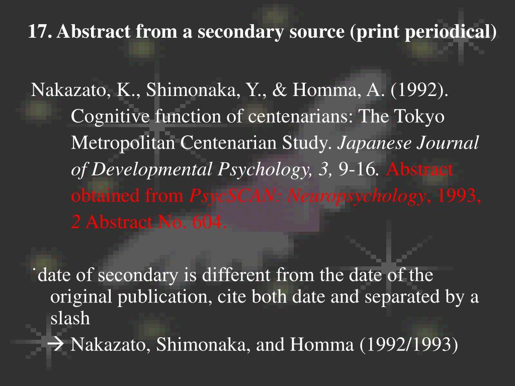 17. Abstract from a secondary source (print periodical)