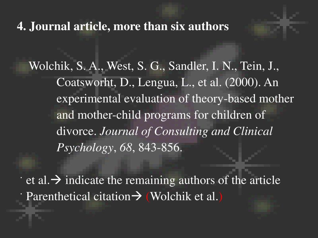 4. Journal article, more than six authors