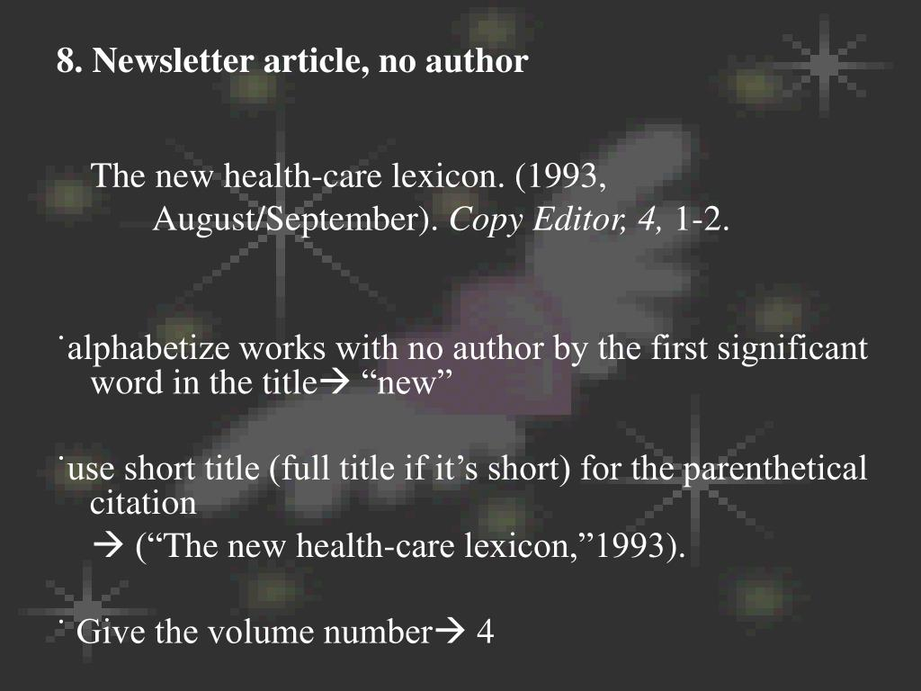 8. Newsletter article, no author