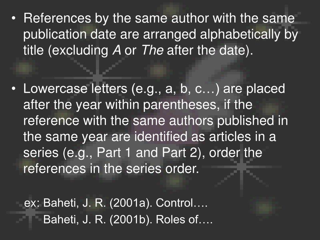 References by the same author with the same publication date are arranged alphabetically by title (excluding