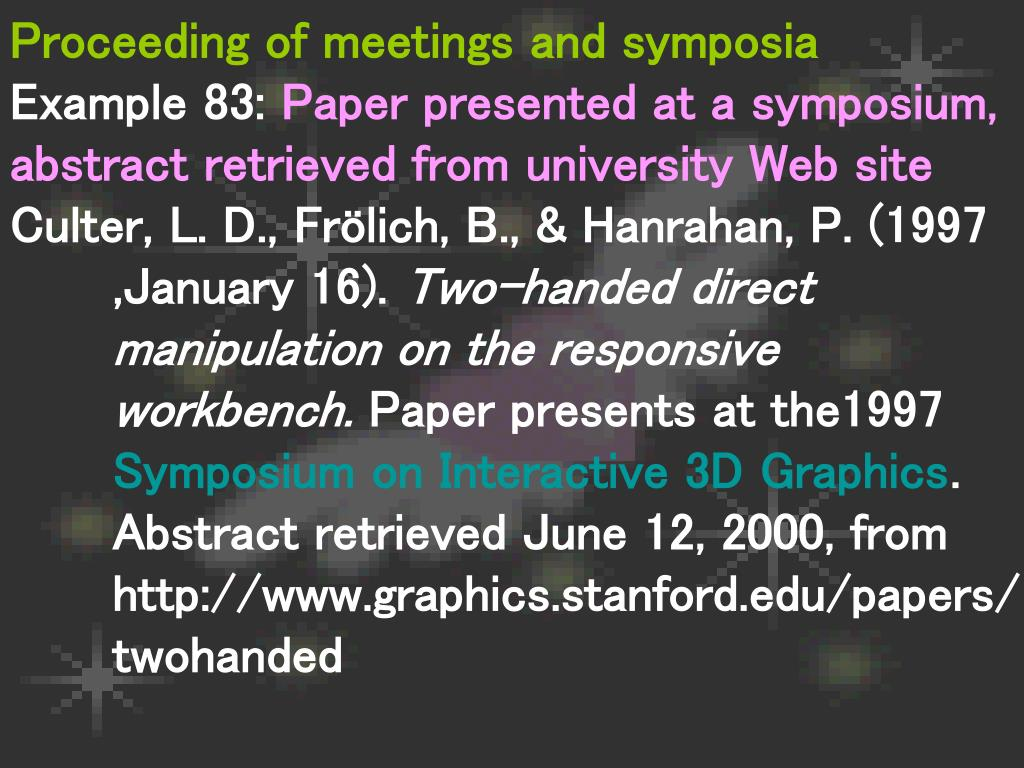 Proceeding of meetings and symposia