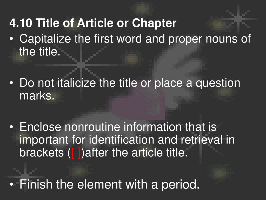 4.10 Title of Article or Chapter