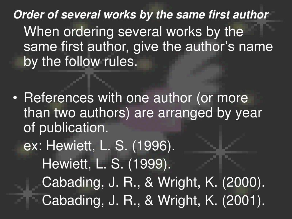 Order of several works by the same first author