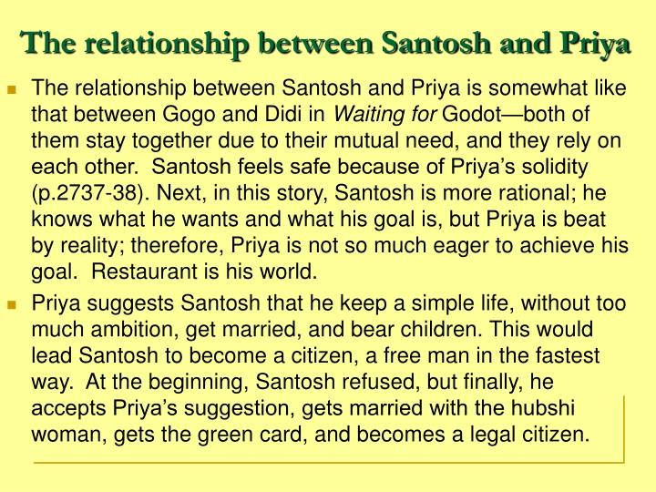 The relationship between Santosh and Priya