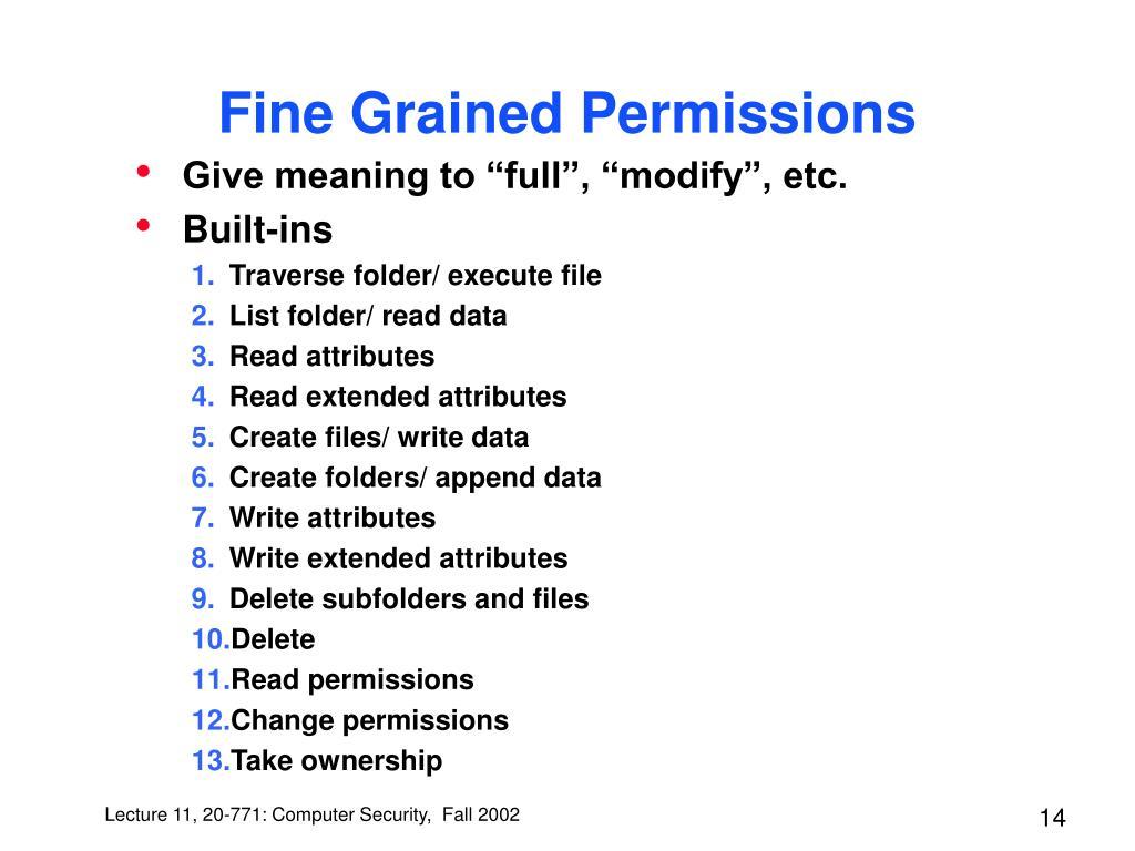Fine Grained Permissions
