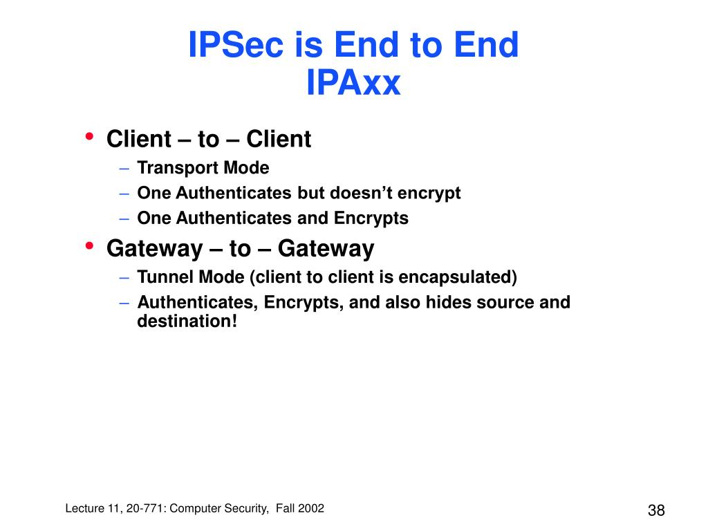 IPSec is End to End