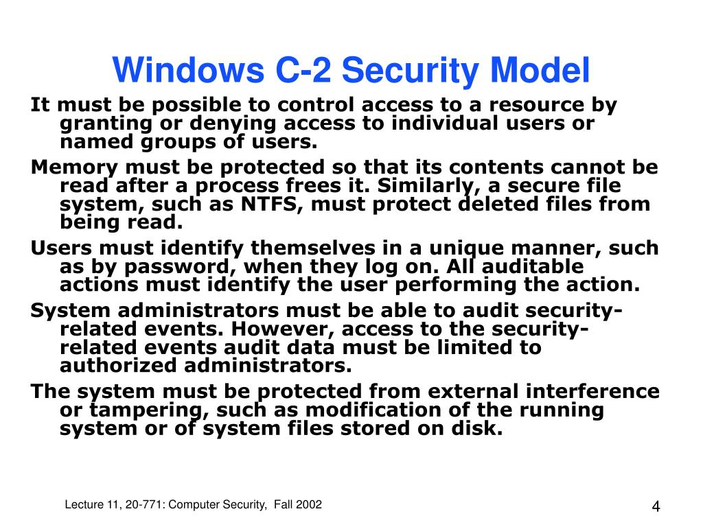 Windows C-2 Security Model
