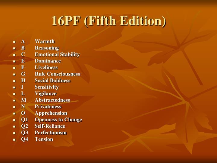 16PF (Fifth Edition)