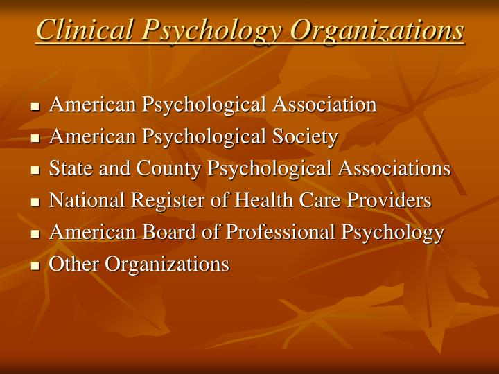 Clinical Psychology Organizations