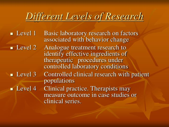 Different Levels of Research